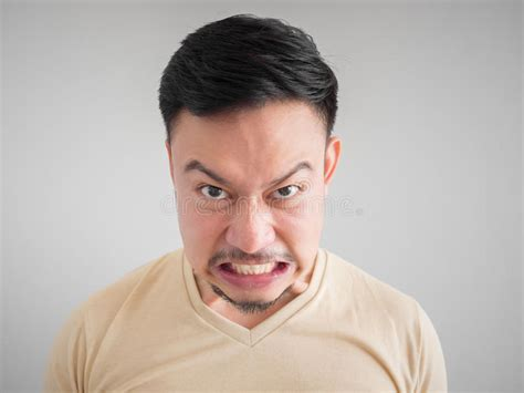 Headshot Of Angry And Mad Man Face. Stock Image
