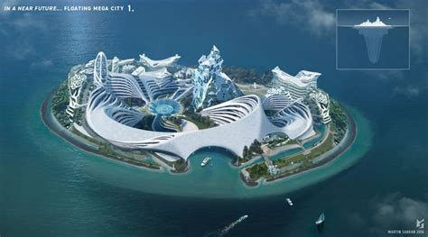 Artstation Near Future Floating Mega City Martin