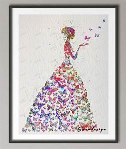 Original Watercolor Butterfly Girl wall art canvas