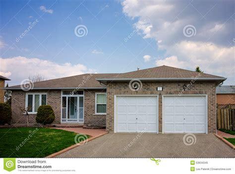 bungalow   double garage stock photo image
