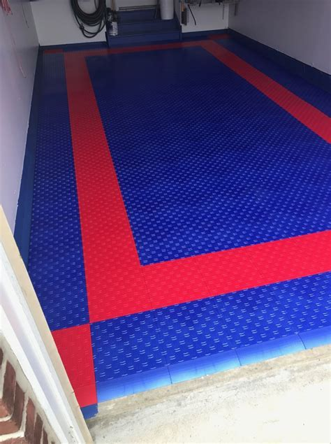 Red & Blue HD Diamond Interlocking Garage Floor Tiles
