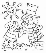 Coloring Winter Sunny Season Drawing Snowman Easy Making Kid Young Mr Children Sky Getdrawings Update sketch template