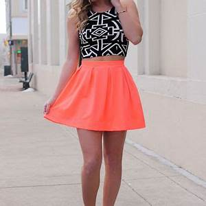 No parison Skirt Neon Coral from UOI Boutique