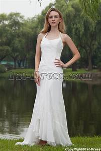 simple halter beach wedding dresses gowns with high low With high low halter wedding dress
