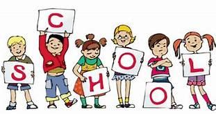 kids holding school letters