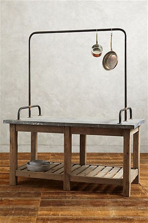kitchen island with hanging pot rack zinc topped kitchen island anthropologie com decor