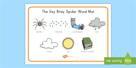The Itsy Bitsy Spider Word Mat