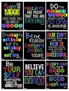 Motivational Quotes Posters for the Classroom Neon Decor