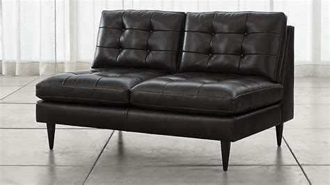 Armless Leather Loveseat by Petrie Armless Tufted Leather Loveseat Crate And Barrel
