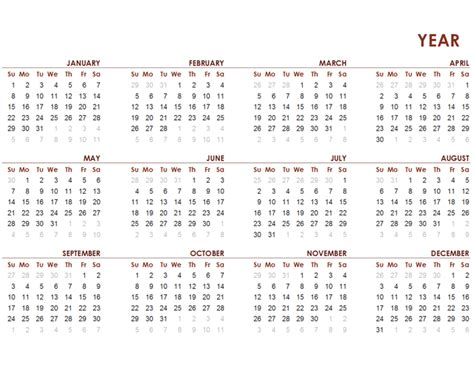 calendar template full year full year global calendar