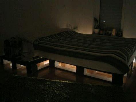 lighted pallet bed palette bed diy wooden pallet beds