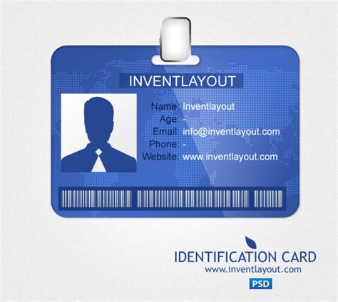 identification card psd inventlayout