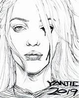 Billie Eilish Coloring Pages Drawing Pencil Singer Chic Raskrasil sketch template
