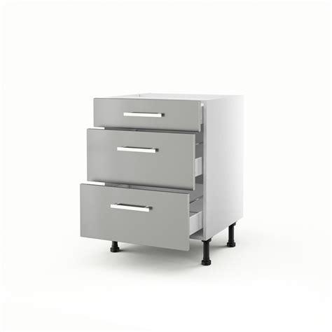 meuble cuisine 60 meuble de cuisine bas gris 3 tiroirs délice h 70 x l 60 x