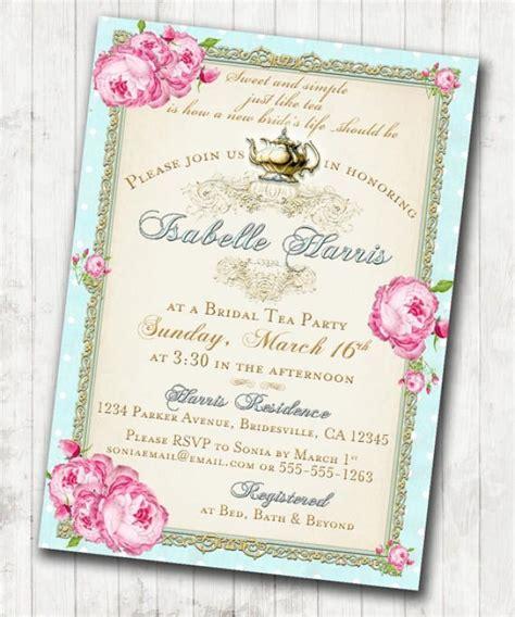 tea bridal shower tea invitation floral