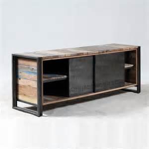 meuble tv industrielle 2 portes coulissantes m 233 tal bross 233