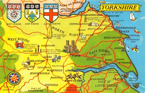 Map Postcard of YORKSHIRE Coat of Arms York Doncaster ...