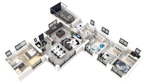plan 3d chambre plan de maison 3 chambres en 3d maison moderne