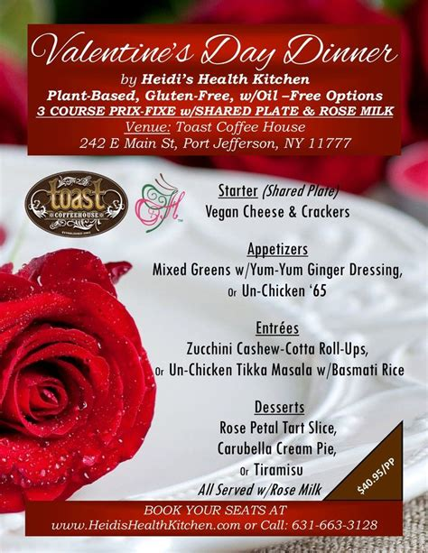 Best thing on the menu: * Valentine's Day Vegan Dinner, Thursday, February 14th at TOAST Coffee House, Port Jefferson ...