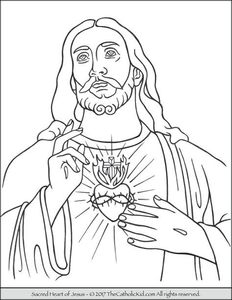 sacred heart  jesus coloring page thecatholickidcom