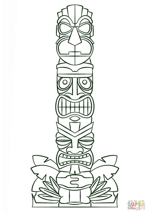 Tiki Totem Templates by Totem Pole Coloring Page Coloring Home