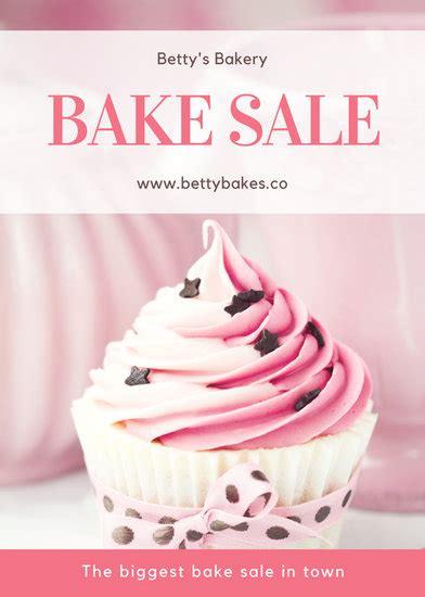 pink cupcake photo bake sale flyer templates  canva