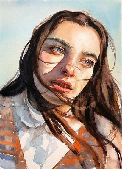 Watercolor Portrait Portraits Painting Watercolour Paintings Emotions