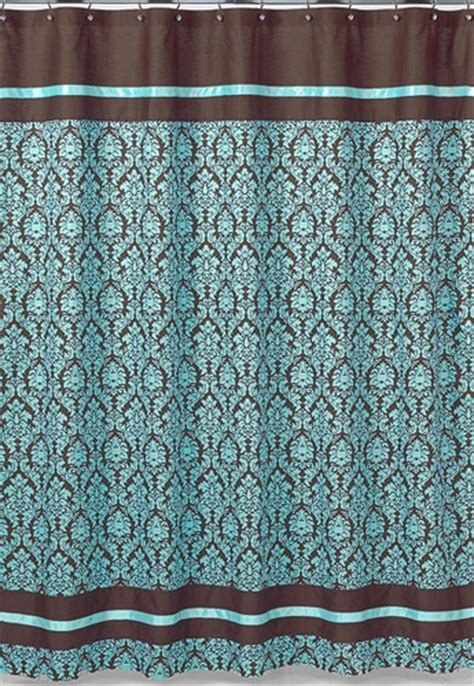 turquoise and brown bathroom fabric bath shower