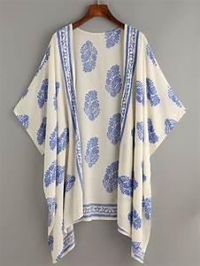 Beige Vintage Pattern Print KimonoFor Women-romwe