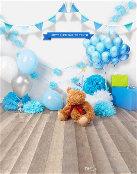 newborn baby birthday photo backdrop blue balloons