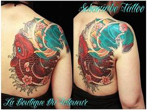 Tattoo Fleur De Cerisier : tatouage japonais carpe koi lotus fleur cerisier sakuras sebaninho tattoo tatouage japonais femme ~ Melissatoandfro.com Idées de Décoration