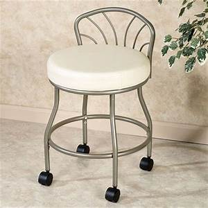 Flare back powder coat nickel finish vanity chair with casters for Vanity chair for bathroom with wheels