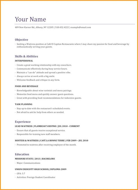 Resume Objective For Restaurant by Resume Objectives For Waitress Vvengelbert Nl