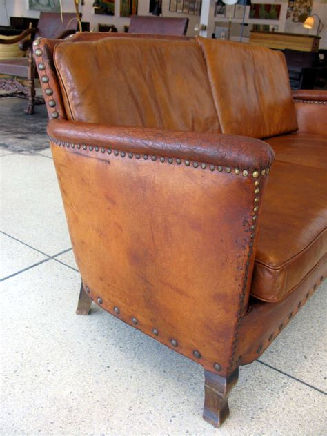 Aged Leather Sofa by Aged Leather 2 Person Sofa At 1stdibs