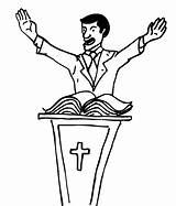 Preacher Coloring Church Shepherd sketch template