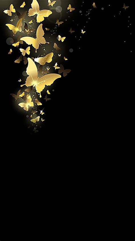 atmospheric black background gold butterfly black