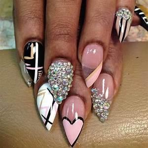 Nail designs pink bling stilettos white nails fabulous