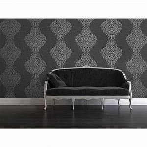 Kenneth James Ambrosia Silver Glitter Damask Wallpaper ...