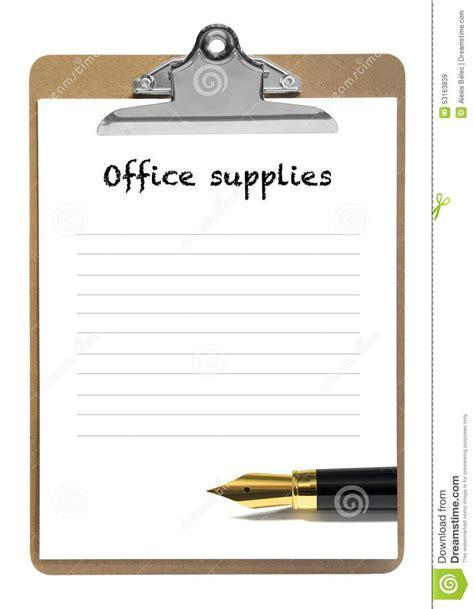 liste fourniture de bureau liste de fourniture de bureau photo stock image 53163839