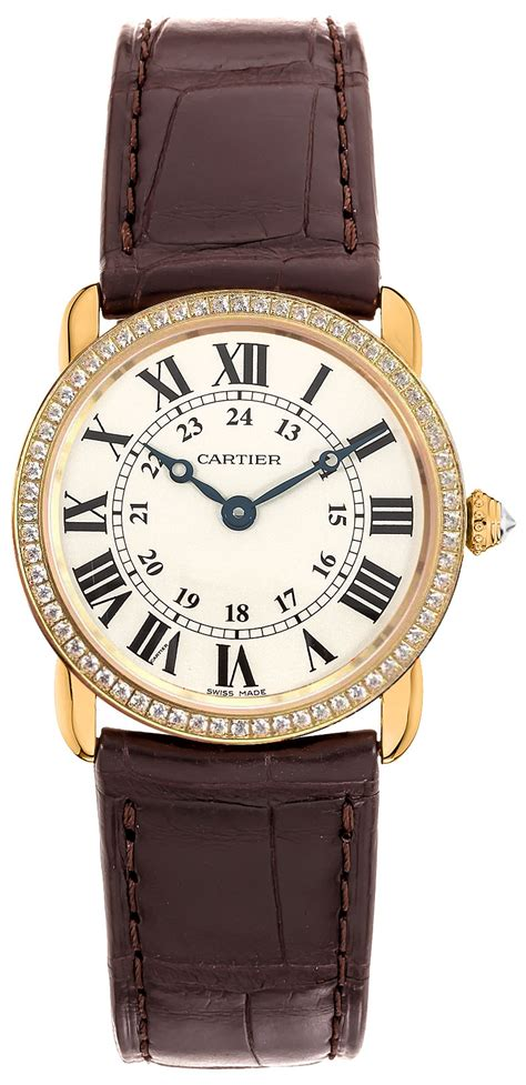 WR000151 Cartier Ronde Louis Diamonds Black Numerals ...