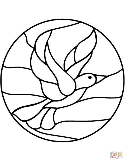 Bird Stained Glass Coloring Page Free Printable Coloring