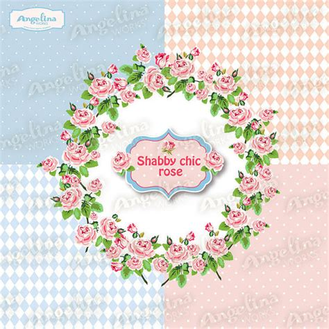 shabby chic clip shabby chic rose digital wreath clip art for by angelinaworks