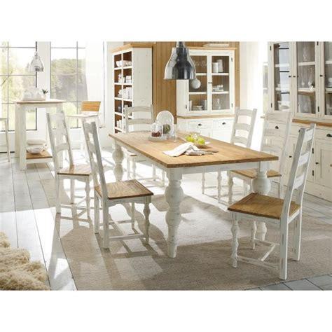 table 200x100 et 6 chaises landhaus en bois mindi blanc et