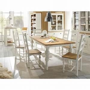 Table Salle A Manger Blanche Et Bois : table 200x100 et 6 chaises landhaus en bois mindi blanc et ~ Teatrodelosmanantiales.com Idées de Décoration