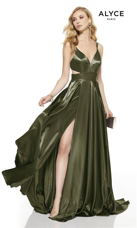 V-Neck Alyce Long Prom Dress with Cut Outs - PromGirl