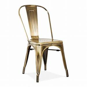 Xavier Pauchard Style Brass Brushed Side Chair Café