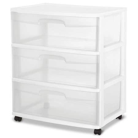 Sterilite 3 Drawer Wide Cart - sterilite 3 drawer wide cart white walmart