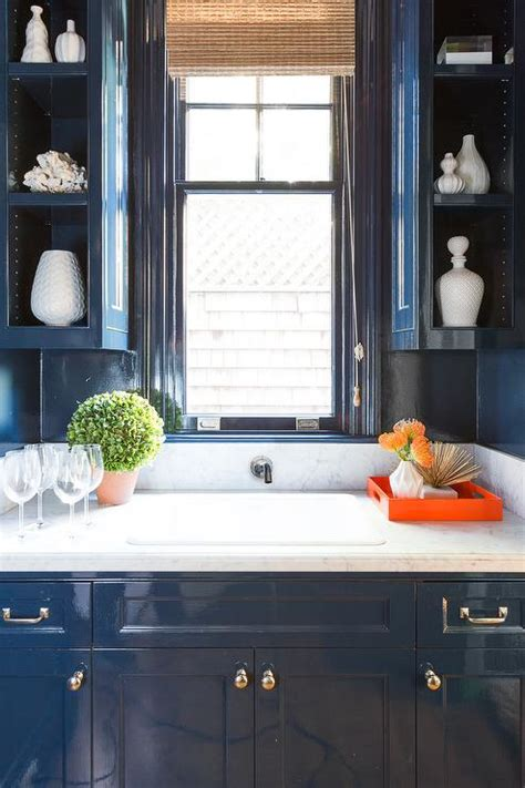 blue lacquer kitchen cabinets  blue beadboard trim