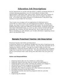 top preschool description recentresumes