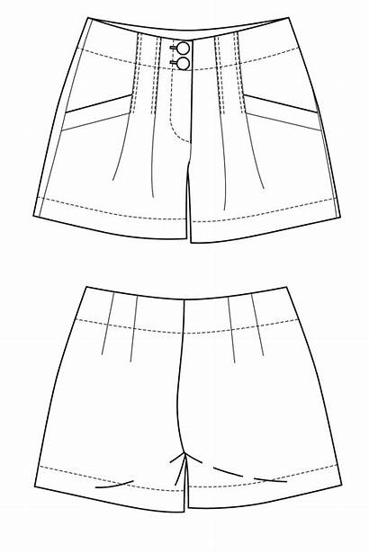 Shorts Drawing Flat Waisted Sketches Patterns Draw